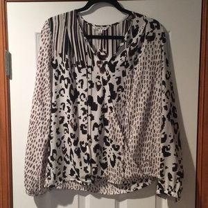 CAbi #590 animal print faux wrap blouse